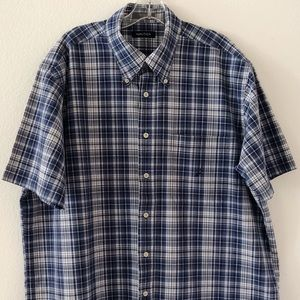 Nautica SS Button Down Shirt Blue Plaid Size XL